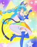 1girl animal_ear_fluff animal_ears blue_cat blue_gloves blue_hair blue_headwear blue_legwear cat_ears cat_tail closed_mouth cure_cosmo elbow_gloves gloves haruyama_kazunori hat long_hair looking_at_viewer magical_girl mini_hat multicolored multicolored_clothes multicolored_skirt orange_eyes precure skirt smile solo standing standing_on_one_leg star star_twinkle_precure starry_background tail thigh-highs twintails