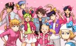 >_< 2girls 6+boys ?? absurdres annoyed bangs battle_tendency black_hair blonde_hair blue_bow blue_eyes blue_hair blush bow brown_hair butterfly_earrings collared_shirt diamond_wa_kudakenai double_bun flying_sweatdrops giorno_giovanna green_hair grey_eyes gummy_(puffaluficus) hair_bow happy hat higashikata_jousuke higashikata_jousuke_(jojolion) highres johnny_joestar jojo_no_kimyou_na_bouken jojo_siwa jojolion jonathan_joestar joseph_joestar_(young) kuujou_jolyne kuujou_joutarou looking_at_viewer messy_hair multicolored_hair multiple_boys multiple_girls open_mouth phantom_blood pink_background pink_bow pompadour ponytail real_life shirt simple_background skirt smile stardust_crusaders steel_ball_run stone_ocean two-tone_hair v vento_aureo yellow_bow