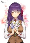 1girl bangs black_skirt blue_flower blush bouquet breasts brown_vest closed_eyes closed_mouth collared_shirt commentary_request crying eto_(nistavilo2) eyebrows_visible_through_hair facing_viewer fate/stay_night fate_(series) fingernails flower hair_between_eyes hair_ribbon holding holding_bouquet homurahara_academy_uniform large_breasts long_hair long_sleeves matou_sakura pink_flower pink_rose purple_hair red_ribbon ribbon rose school_uniform shirt simple_background skirt smile solo tears upper_body vest white_background white_flower white_shirt