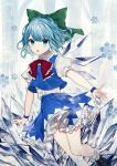 1girl absurdres bangs black_footwear blue_eyes blue_hair blue_skirt blue_vest blush bobby_socks bow bowtie cirno commentary_request daimaou_ruaeru eyebrows_visible_through_hair feet_out_of_frame frilled_bow frills green_bow hair_bow highres ice ice_wings loafers looking_at_viewer miniskirt open_mouth petticoat puffy_short_sleeves puffy_sleeves red_bow red_neckwear shirt shoes short_hair short_sleeves skirt skirt_set snowflakes socks solo thighs touhou tree vest white_legwear white_shirt wings wristband