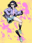 1girl black_hair black_legwear blue_footwear blue_shorts highres invisible jacket jojo_no_kimyou_na_bouken looking_at_viewer medium_hair older pink_shirt purple_jacket selina_rosa_davis shirt shizuka_joestar shorts socks solo sunglasses yellow_background