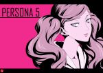1girl brown_hair chris_re5 collarbone earrings floating_hair grey_eyes hood hood_down jewelry long_hair looking_at_viewer looking_to_the_side parted_lips persona persona_5 pink_background portrait shiny shiny_hair simple_background solo takamaki_anne twintails