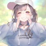 1girl ao+beni bangs baseball_cap blurry blurry_background blush brown_eyes brown_hair cheek_squash choker hands_on_own_cheeks hands_on_own_face hat hood hood_down hoodie jewelry long_hair looking_at_viewer necklace one_side_up original smile solo swept_bangs teeth upper_body