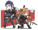2girls assault_rifle bangs beret black_legwear black_skirt blunt_bangs brown_eyes brown_hair character_name dual_wielding eyebrows_visible_through_hair facial_mark fatkewell fingerless_gloves girls_frontline gloves goggles goggles_on_head green_eyes gun h&k_hk416 h&k_ump h&k_ump9 hat hk416_(girls_frontline) holding holding_gun holding_weapon knee_pads kneeling long_hair looking_at_viewer multiple_girls one_eye_closed open_mouth pantyhose pleated_skirt ponytail rifle silver_hair simple_background skirt standing submachine_gun teardrop thigh-highs twintails ump9_(girls_frontline) weapon