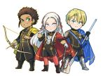 1girl 2boys armor axe blonde_hair blue_eyes blush brown_hair cape chibi claude_von_regan_(fire_emblem) cravat dark_skin dimitri_alexandre_bladud_(fire_emblem) edelgard_von_hresvelgr_(fire_emblem) fire_emblem fire_emblem:_fuukasetsugetsu gloves green_eyes hair_ornament hair_ribbon long_hair looking_at_viewer multiple_boys pantyhose polearm red_cape ribbon short_hair simple_background smile spear ticcy uniform weapon white_background