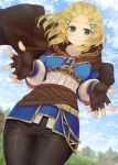 1girl aisawa_natsu bangs black_gloves blonde_hair blue_eyes blush braid breasts cape commentary_request crown_braid day fingerless_gloves from_below gloves hair_ornament hairclip highres long_hair long_sleeves looking_at_viewer medium_breasts outdoors pointy_ears princess_zelda smile solo the_legend_of_zelda the_legend_of_zelda:_breath_of_the_wild the_legend_of_zelda:_breath_of_the_wild_2 triforce