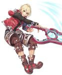 1boy blonde_hair blue_eyes highres looking_at_viewer male_focus monado open_mouth short_hair shulk simple_background solo sword weapon white_background xenoblade_(series) xenoblade_1 yappen