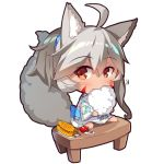 1girl ahoge animal_ear_fluff animal_ears bangs barefoot blue_bow blush bow candy_apple chibi closed_mouth commentary_request corn cotton_candy dark_skin eating eyebrows_visible_through_hair facial_mark floral_print food fox_ears fox_girl fox_tail grey_hair hair_between_eyes holding holding_food japanese_clothes kimono long_sleeves looking_at_viewer obi original plate ponytail print_kimono red_eyes sash simple_background sitting solo tail tail_raised white_background white_kimono wide_sleeves yakitoumorokoshi yuuji_(yukimimi)