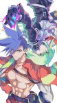 2boys absurdres black_gloves black_jacket blue_eyes blue_hair chest cravat earrings fire galo_thymos gloves green_hair half_gloves highres jacket jewelry lio_fotia looking_at_viewer male_focus multiple_boys promare shirtless smile spiky_hair toramaru_(696anna) upside-down violet_eyes