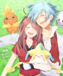 1boy 1girl aron blue_hair brown_hair closed_eyes gen_3_pokemon grass haruka_(pokemon) hetero jirachi laughing legendary_pokemon long_hair lying miyamotokannn on_back open_mouth outdoors pokemon pokemon_(creature) pokemon_(game) pokemon_rse short_hair sidelocks smile torchic tsuwabuki_daigo