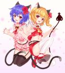 2girls adapted_costume animal_ear_fluff animal_ears ascot bangs bare_arms bare_shoulders black_legwear blonde_hair blue_hair breasts brooch bushi_(1622035441) cat_ears cat_tail choker claw_pose commentary_request crop_top eyebrows_visible_through_hair fang flandre_scarlet flower frilled_shirt_collar frills garter_straps gradient gradient_background hair_flower hair_ornament hair_ribbon high_heels highres jewelry kemonomimi_mode laevatein looking_at_viewer midriff miniskirt multiple_girls navel no_hat no_headwear one_side_up pencil_skirt pink_background pink_sailor_collar pink_shirt pink_skirt pleated_skirt red_choker red_eyes red_flower red_footwear red_neckwear red_ribbon red_rose red_skirt red_vest remilia_scarlet ribbon rose sailor_collar seiza shirt short_hair siblings sisters sitting skirt skirt_set sleeveless sleeveless_shirt small_breasts tail thigh-highs thighs touhou vest white_background white_legwear yellow_neckwear zettai_ryouiki