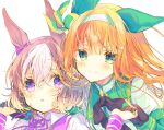 2girls animal_ears bangs black_gloves blush bow brown_hair closed_mouth collared_shirt eyebrows_visible_through_hair gloves green_eyes hair_between_eyes hair_bow hair_ornament hairband hairclip holding_hands horse_ears jacket long_hair long_sleeves multicolored_hair multiple_girls neck_ribbon necon1 orange_hair parted_lips puffy_short_sleeves puffy_sleeves purple_ribbon ribbon shirt short_over_long_sleeves short_sleeves silence_suzuka simple_background smile special_week streaked_hair umamusume upper_body violet_eyes white_background white_hair white_jacket white_shirt wristband