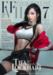 1girl bare_shoulders black_hair black_skirt breasts brown_eyes cover earrings elbow_gloves final_fantasy final_fantasy_vii final_fantasy_vii_remake fingerless_gloves gloves highres jacket jewelry large_breasts long_hair looking_at_viewer magazine_cover midriff miniskirt navel off_shoulder parted_lips pencil_skirt pleated_skirt raypier shirt skirt suspender_skirt suspenders tank_top taut_clothes taut_shirt thigh-highs thighs tifa_lockhart toned