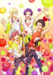 4boys backwards_hat blonde_hair brown_hair fujiwara_soushi hat highres idol_clothes iseya_zen looking_at_viewer male_focus multiple_boys official_art pink_hair purple_hair readyyy! sanada_junnosuke takachiho_aki