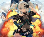 1girl absurdres bangs bare_shoulders black_leotard blue_eyes blue_hair blue_legwear blush breasts cityscape covered_navel cowboy_shot day explosion floating_hair girls_frontline gloves groin hair_between_eyes hair_ornament hand_on_hip hand_up heart heart-shaped_pupils highres leotard looking_at_viewer medium_hair ookamimiru outdoors pa-15_(girls_frontline) sidelocks silver_hair single_leg_pantyhose small_breasts smile standing symbol-shaped_pupils v wind