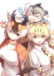 >_< 3girls :d absurdres animal_ear_fluff bangs black_hair blonde_hair brown_hair cheetah_(kemono_friends) cheetah_ears cheetah_print collared_shirt commentary_request elbow_gloves extra_ears eyebrows_visible_through_hair fang gloves gradient_hair greater_roadrunner_(kemono_friends) grey_hair hair_between_eyes highres horizontal_pupils horns jacket japari_symbol kanzakietc kemono_friends long_hair looking_at_viewer multicolored_hair multiple_girls necktie open_mouth orange_eyes print_gloves print_neckwear pronghorn_(kemono_friends) shirt simple_background smile track_jacket v-shaped_eyebrows white_background white_hair white_shirt xd yellow_eyes