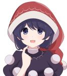 1girl :d bangs black_dress blue_eyes blue_hair blush commentary doremy_sweet dress english_commentary eyebrows_visible_through_hair finger_to_chin hand_up hat looking_at_viewer nightcap open_mouth pom_pom_(clothes) red_headwear short_hair short_sleeves simple_background smile solo touhou upper_body white_background yukome