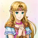 1girl blonde_hair collarbone earrings elf floating_hair gomi green_eyes hands_clasped hylian jewelry long_hair looking_at_viewer necklace nintendo nintendo_ead own_hands_together parted_lips pointy_ears princess_zelda shiny shiny_hair short_sleeves shoulder_armor smile solo super_smash_bros. the_legend_of_zelda the_legend_of_zelda:_a_link_between_worlds the_legend_of_zelda:_a_link_to_the_past the_legend_of_zelda:_link's_awakening upper_body white_background
