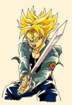 1boy black_shirt blonde_hair blue_eyes capsule_corp commentary denim denim_jacket dragon_ball dragon_ball_z fighting_stance frown highres holding holding_sword holding_weapon jacket jeans lee_(dragon_garou) male_focus open_mouth pants shirt simple_background spiky_hair super_saiyan sword teeth trunks_(future)_(dragon_ball) upper_body weapon white_background