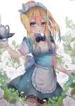 1girl :o alternate_costume alternate_hairstyle apron bangs blonde_hair blue_dress blue_eyes blurry breasts bunny_hair_ornament cowboy_shot cup depth_of_field dress enmaided flower girls_frontline gloves hair_between_eyes hair_ornament hanato_(seonoaiko) hand_up high_ponytail highres holding holding_tray long_hair looking_at_viewer maid maid_apron maid_headdress medium_breasts open_mouth ponytail rose saucer short_sleeves sidelocks snowflake_hair_ornament solo sparkle standing suomi_kp31_(girls_frontline) teapot thigh-highs tray twitter_username waist_apron white_background white_flower white_gloves white_legwear