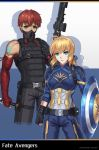1boy 1girl absurdres ahoge armor artoria_pendragon_(all) assault_rifle avengers belt blonde_hair brilliant_naraku captain_america captain_america_(cosplay) cosplay costume_request emiya_shirou eyebrows_visible_through_hair face_mask fate/grand_order fate/stay_night fate_(series) finger_on_trigger fingerless_gloves gloves green_eyes gun highres looking_at_viewer looking_to_the_side mask orange_eyes redhead reverse_grip rifle saber shield weapon