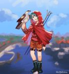 1girl artist_name bangs bird black_footwear blue_sky blurry brown_shorts clouds day depth_of_field falcon full_body green_eyes green_hair head_tilt kantai_collection long_sleeves looking_at_viewer mogami_(kantai_collection) mogamiya_honu outdoors polearm raincoat red_shirt school_uniform serafuku shirt short_hair shorts sky smile solo standing swept_bangs thigh_strap weapon