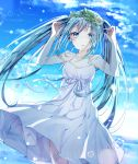 1girl absurdres arms_up backlighting bangs bare_arms bare_shoulders blue_sky breasts bubble clouds cloudy_sky collarbone day dress eyebrows_visible_through_hair fingernails flower green_eyes green_hair hatsune_miku head_wreath highres horizon huge_filesize long_hair miyo_(user_zdsp7735) ocean outdoors parted_lips pleated_dress sidelocks sky sleeveless sleeveless_dress small_breasts solo summer sunset twintails very_long_hair vocaloid water white_dress white_flower