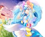 1girl arms_up bangs blue_eyes blue_hair bracelet closed_mouth cowboy_shot cure_ange dress earrings eyebrows_visible_through_hair flower highres hugtto!_precure jewelry layered_dress long_hair long_sleeves looking_at_viewer precure see-through shiny shiny_hair short_dress smile solo standing very_long_hair white_dress white_flower yellow_flower yuutarou_(fukiiincho)