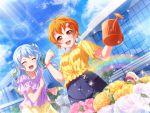 bang_dream! blush dress kitazawa_hagumi orange_hair red_eyes short_hair smile wink
