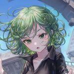 1girl blush close-up collarbone curly_hair eyebrows green_eyes green_hair highres long_sleeves looking_at_viewer maccha_(mochancc) one-punch_man parted_lips short_hair solo tatsumaki