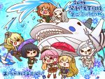 >_< >_o 6+girls ^_^ abyssal_pacific_hime animal black_hair blonde_hair blue_background blush breasts brown_hair candy cape capelet chibi closed_eyes colorado_(kantai_collection) fang fletcher_(kantai_collection) floral_background flower food giuseppe_garibaldi_(kantai_collection) hachijou_(kantai_collection) hair_ornament harpoon hat headgear holding holding_umbrella holding_weapon horns ishigaki_(kantai_collection) kantai_collection lollipop long_hair multiple_girls northern_little_sister one_eye_closed open_mouth pink_hair school_uniform serafuku shinkaisei-kan short_hair teeth thigh-highs translation_request umbrella water weapon whale white_hair white_skin yumaru_(marumarumaru)