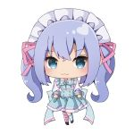 :3 absurdres bangs big_head black_footwear blue_bow blue_eyes blue_hair blue_skirt blush bow chibi closed_mouth copyright_request eyebrows_visible_through_hair full_body hair_between_eyes hair_ribbon high-waist_skirt highres kneehighs long_hair long_sleeves maid_headdress mismatched_legwear pink_ribbon pleated_skirt ribbon sapphire_(sapphire25252) shirt shoes sidelocks simple_background single_kneehigh single_thighhigh skirt standing standing_on_one_leg striped striped_legwear thigh-highs twintails virtual_youtuber white_background white_shirt