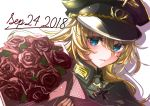 1girl 2018 absurdres black_headwear blonde_hair blue_eyes bouquet bouquetforangel dated floating_hair flower hair_between_eyes hat highres holding holding_bouquet huge_filesize long_hair looking_at_viewer military military_uniform parted_lips peaked_cap print_hat red_flower red_rose rose sketch solo tanya_degurechaff uniform upper_body white_background youjo_senki