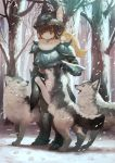 1girl animal_helmet armor artist_name bare_tree blonde_hair breastplate brown_eyes commentary_request day faulds forest full_body fur_collar gauntlets greaves hair_blowing helmet highres light_smile long_hair looking_at_viewer manino_(mofuritaionaka) nature original outdoors paw_print petting ponytail shoulder_armor snow snowing solo spaulders standing tree vambraces wind wolf
