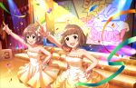 blush brown_hair dress green_eyes group idolmaster_cinderella_girls_starlight_stage kitami_yuzu short_hair smile
