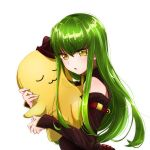 1girl absurdres bangs black_sleeves bouquetforangel c.c. cheese-kun code_geass detached_sleeves green_hair hair_between_eyes highres long_hair long_sleeves open_mouth shiny shiny_hair simple_background solo straight_hair upper_body very_long_hair white_background yellow_eyes
