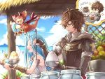 1boy 1girl :d ahoge armor beach brown_eyes closed_eyes coffee coffee_cup coffee_mug cup disposable_cup dragon drink elbow_gloves food fruit frustrated gloves granblue_fantasy hood hoodie light_blue_hair long_hair lyria_(granblue_fantasy) mug official_art open_mouth sandalphon_(granblue_fantasy) shaved_ice smile smug sparkle vee_(granblue_fantasy) very_long_hair