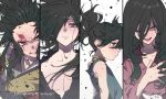 2boys 2girls androgynous black_eyes black_hair blood brothers brown_eyes closed_eyes dororo_(character) dororo_(tezuka) hair_over_one_eye heterochromia hyakkimaru_(dororo) japanese_clothes long_hair mio_(dororo) multiple_boys multiple_girls ponytail ringorenji siblings tahoumaru twitter_username