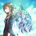 1boy ashgray black_shirt blue_sky braid branch brown_hair clouds flower glorious_drive long_hair omc outdoors profile shirt sky smile standing very_long_hair wings