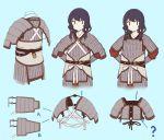 1girl armor black_eyes black_hair blue_background chinese_armor fangdan_runiu long_hair original simple_background solo