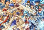 2girls 6+boys alfonse_(fire_emblem) alm_(fire_emblem) aqua_hair armor armpits bangle bare_shoulders belt bird black_gloves blonde_hair blue_eyes blue_hair blue_scarf bracelet breastplate brown_eyes brown_hair cape copyright_name dress durandal_(fire_emblem) eirika elbow_gloves eliwood_(fire_emblem) falchion_(fire_emblem) fingerless_gloves fire_emblem fire_emblem:_akatsuki_no_megami fire_emblem:_fuuin_no_tsurugi fire_emblem:_kakusei fire_emblem:_monshou_no_nazo fire_emblem:_seima_no_kouseki fire_emblem:_seisen_no_keifu fire_emblem:_souen_no_kiseki fire_emblem:_thracia_776 fire_emblem_cipher fire_emblem_echoes:_mou_hitori_no_eiyuuou fire_emblem_heroes fire_emblem_if gloves gradient_hair green_eyes green_hair hair_ribbon half_updo headband ike jewelry krom leaf_(fire_emblem) long_hair male_my_unit_(fire_emblem_if) marth micaiah multicolored_hair multiple_boys multiple_girls my_unit_(fire_emblem_if) official_art open_mouth red_eyes redhead ribbon roy_(fire_emblem) scarf shield sigurd_(fire_emblem) silver_hair skirt sleeveless sleeveless_dress smile sword tiara weapon white_skirt yamada_koutarou yellow_eyes yune