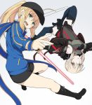 2girls ahoge artoria_pendragon_(all) bangs baseball_cap black_shorts blonde_hair blue_jacket blue_scarf braid commentary_request eyebrows_visible_through_hair fate/grand_order fate_(series) green_eyes hair_between_eyes hair_ribbon hat holding jacket long_hair long_sleeves looking_at_viewer multiple_girls mysterious_heroine_x ponytail ribbon saber_alter scarf shiseki_hirame short_hair shorts simple_background sword track_jacket upside-down weapon white_background yellow_eyes