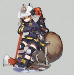 1girl :3 animal_ears animal_helmet arknights arm_support axe badge belt belt_buckle black_belt black_footwear black_jacket black_shorts boots brown_eyes brown_hair buckle chin_rest fire_axe fire_extinguisher firefighter full_body grey_background helmet highres jacket knee_pads kumo_ryuun shaw_(arknights) short_hair shorts solo squirrel_ears squirrel_girl squirrel_tail tail