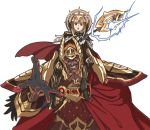 1boy 1girl alba armor beard black_armor black_gloves cape carrying crown dark_skin dark_skinned_male facial_hair fire_emblem fire_emblem_heroes gloves grey_hair grin hair_ornament holding holding_staff long_hair open_mouth orange_hair red_eyes shoulder_carry simple_background smile staff surtr_(fire_emblem_heroes) veronica_(fire_emblem) white_background