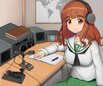 1girl absurdres arm_rest bangs black_neckwear blouse blunt_bangs book closed_mouth commentary eyebrows_visible_through_hair gatchan girls_und_panzer green_skirt headphones highres huge_filesize long_hair long_sleeves looking_at_viewer map microphone miniskirt neckerchief ooarai_school_uniform orange_eyes orange_hair paper pen pleated_skirt radio school_uniform serafuku sitting skirt smile solo takebe_saori telegraph white_blouse