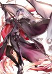 1girl ahoge armor black_legwear capelet fate/grand_order fate_(series) fur_trim grey_hair headpiece highres jeanne_d'arc_(alter)_(fate) jeanne_d'arc_(fate)_(all) liu_liu short_hair solo standard_bearer sword thigh-highs weapon white_background yellow_eyes