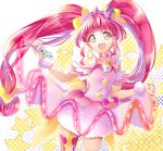 1girl :d ahoge asymmetrical_legwear bangs choker collarbone cowboy_shot cure_star dress eyebrows_visible_through_hair floating_hair hair_ornament highres holding holding_pen layered_dress long_hair looking_at_viewer open_mouth pen pink_dress pink_hair precure red_eyes red_legwear scrunchie shiny shiny_hair short_dress single_thighhigh sleeveless sleeveless_dress smile solo standing star_twinkle_precure thigh-highs twintails very_long_hair white_background white_scrunchie wrist_scrunchie yuutarou_(fukiiincho)