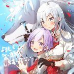 1boy 1girl :d bangs black_gloves blue_shirt blurry blurry_background blush breasts character_request commentary_request copyright_request eyebrows_visible_through_hair fuku_kitsune_(fuku_fox) gloves highres large_breasts long_hair looking_at_viewer necktie open_mouth pink_eyes red_neckwear shirt short_hair smile translation_request white_hair wolf
