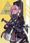 1girl ar-15 assault_rifle bangs cellphone chinese_commentary commentary dress echo eyes_visible_through_hair girls_frontline gloves gun hair_between_eyes hair_ornament holding holding_cellphone holding_gun holding_phone holding_weapon jacket long_hair looking_at_viewer multicolored_hair original parted_lips phone pink_eyes pink_hair red_gloves rifle scope sidelocks simple_background solo st_ar-15_(girls_frontline) standing streaked_hair thigh-highs weapon
