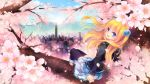 1girl black_shirt blonde_hair blue_eyes cherry_blossoms cityscape clouds cloudy_sky eyebrows_visible_through_hair hair_between_eyes hair_ornament in_tree long_hair long_sleeves looking_at_viewer original outdoors plaid plaid_skirt shinia shirt sitting sitting_in_tree skirt sky solo thigh-highs tree white_skirt zettai_ryouiki